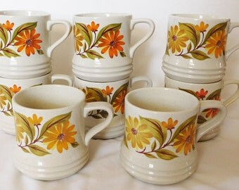 8 vintage CAPRI STONEWARE coffee mugs 1970s