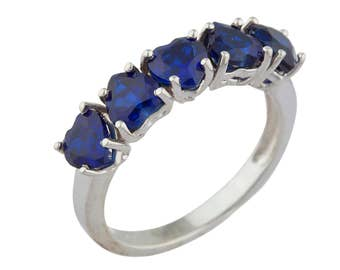 5 Hearts Blue Sapphire Heart Ring .925 Sterling Silver Rhodium Finish