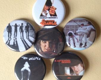 """A Clockwork Orange pin back buttons 1.25"""" set of 6"""