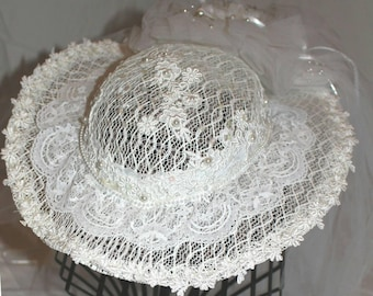 Vintage Lace Embroidered Beaded Pearl Off-White /Ivory WEDDING Veil Hat