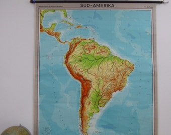 Large Original Vintage South America Scool Chart - Authentic Map of South America - Original Georg Westermann Map 1960s