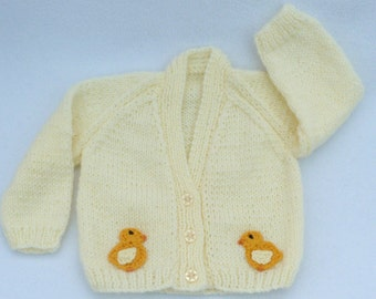 Easter baby, Baby sweater, Hand knitted cream baby cardigan to fit a  0 to 3 months baby. Baby clothes, baby gift, baby shower. Easter gift