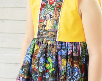 Beauty beast dress - Stained Glass Beauty and the Beast Dress up to size 12