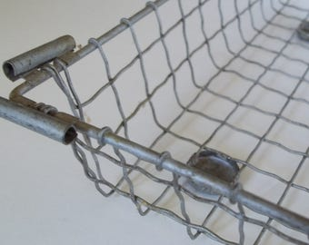 Vintage Industrial Metal Tray. Wire Office Tray, Wire Mail Tray, Wire Catchall, Wire Desk Tray