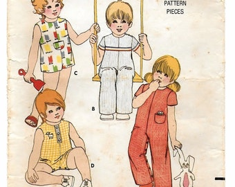 "A Long / Short Leg, Round Neckline, Short Sleeve / Sleeveless, Snap Crotch Jumpsuit Pattern for Toddlers: Size 2 Breast 21"" • Butterick 6192"
