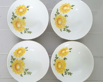 Daisy Bowls Fine China Set of 4 Made in Japan