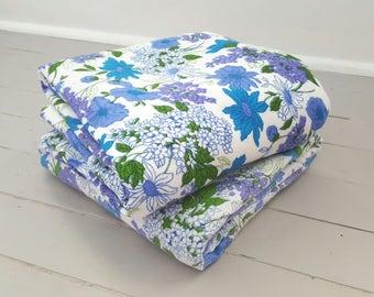 2 Vintage Flannelette Bed Sheets Blue Floral Double
