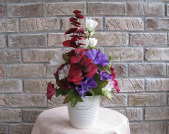 Floral Arrangement, Ceramic Floral Arrangemen, Purple Floral Arrangement, Burgandy Floral Arrangement, Spring Floral, Summer Floral