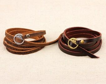 Handmade Multilayer Wristband Charm Brown Genuine Leather Bracelet.