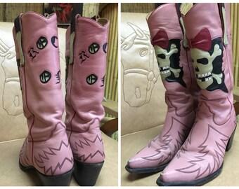 Pink Skull Liberty Cowboy Boots