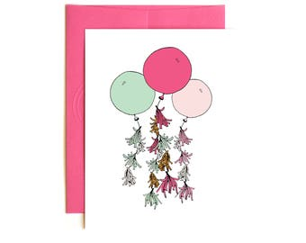 Happy Birthday Pink Mint and Gold Balloon with Fringe Card - Bridal Shower Card - Wedding Card - Baby Shower Card