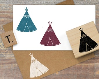 TeePee Stamp, Native American Stamp, TeePee Rubber Stamp, Outdoor Stamp, Wild West Stamp, Camping Stamp 108