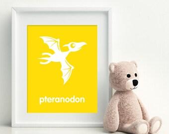 PTERANODON Art Print - Dinosaur art poster - nursery art - child's room decor - playroom decor