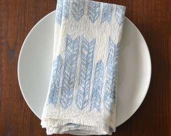Cloth Napkins - Block Printed Cotton Cloth Napkins - Eco Friendly Dinner Napkins - Grid - Handmade Cotton Napkins - Reusable - Farmtable