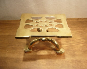Vintage brass adjustable hearth stand, adjustable pot stand, adjustable trivet, brass trivet, three legged trivet, brass tripod stand