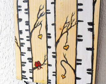 key rack hooks, wood jewelry organizer, love birds, birch tree, burned wood, wood burning art, gold hearts, sparkles, glitter wall art