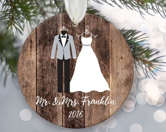 Our First Christmas as Mr and Mrs Ornament, Personalized bride and groom clothes, Newlywed Holiday Ornament, Just Married Three colors OR575