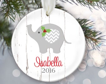 Baby's First Christmas Ornament, Elephant Baby ornament, Personalized Christmas Ornament, Baby shower gift, Baby Girl or Boy OR723