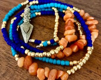 Blue, turquoise, gold & orange long necklace