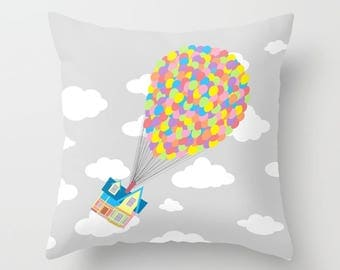 Disney's Pillow Cover, Up! Cushion Cover, Pixar Pillow, UP! Over Gray Sky and White Clouds Decorative Pillow Case