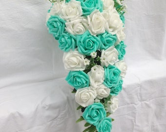 bridal cascading bouquet turquoise green white wedding bouquet turquoise flowers bridal bouquet silk ribbon