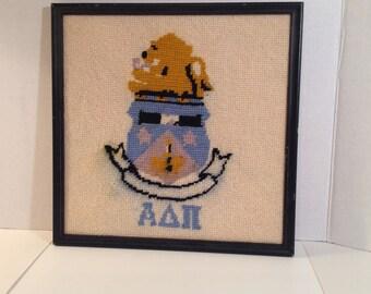Vintage Alpha Delta Pi Framed Needlepoint Crest Hand Stitched