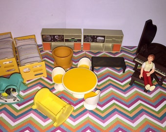 Vintage lot of Fisher Price Dollhouse furniture with Doll