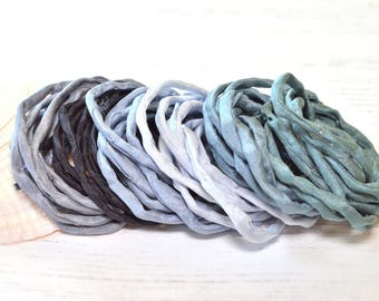 Hand dyed Silk Cords  - Set of 6 - black grey silk ribbons bracelet necklace