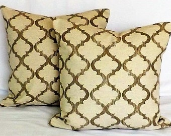SALE Lattice Trellis Tan Beige Pair Set Two Pillow Covers for 18x18 Pillow Forms Throw Pillows Toss Pillows Accent Pillows