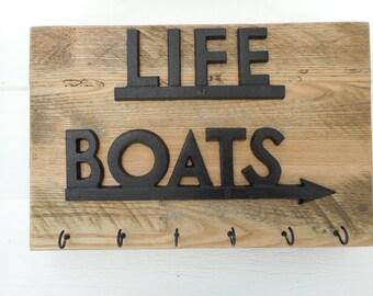 Cast iron LIFE BOATS key holder / beach decor / nautical decor