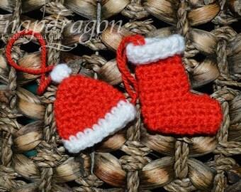 Tiny crocheted Christmas stocking tree ornaments