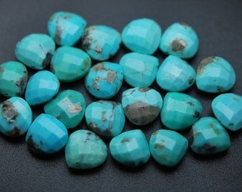10 Pcs of Extremely Beautiful,Sleeping Beauity Turquoise Faceted Heart Shape Briolettes,size 13-14mm