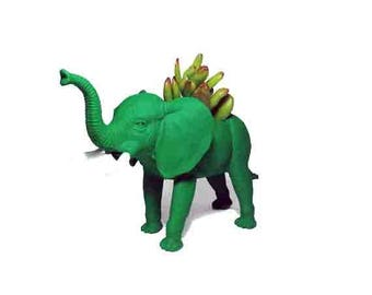 Up-cycled Green Elephant Animal Planter
