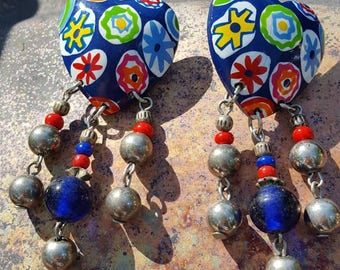 Funky colorful clip on Lucite earrings