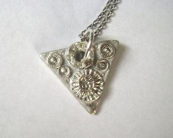 little triangle artisan pendant,  sterling