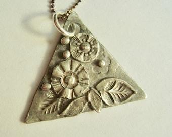 new fine silver triangle pendant necklace