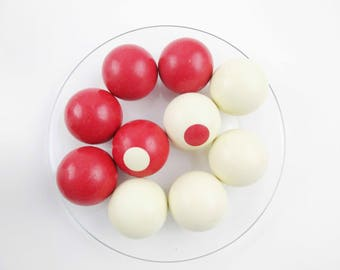 Vintage Snooker Balls - Billiards History - Pool Ball History - Bumper Billiard Pool Ball SNOOKER - Set of 10 Red and White Dot