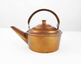 Vintage 'Drumgold' Copper Tea Kettle - Three Cup - 24 Oz. - Tilting Handle - Farmhouse Chic - Angled Spout - Simple and Great Looking