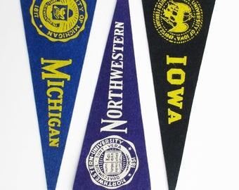 Three Vintage Big 10 Conference University Pennants - Wool Felt Pennants - Michigan - Northwestern - Iowa - With University Emblems