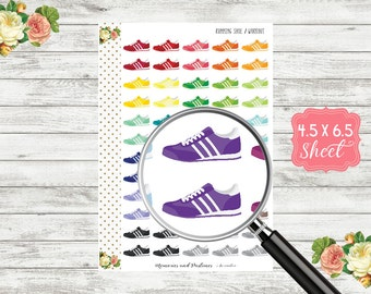 H168 Running Shoe Stickers - Workout Stickers - Exercise Stickers - Planner Stickers - Sneaker Stickers - Gym Stickers - Fitness Stickers