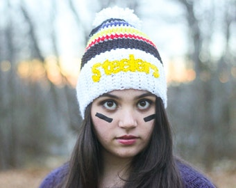 Ready to Ship/ Steelers Hat/ Crocheted Hat/ Crocheted Steelers Hat/ Football Hat/ Winter Hat/ Womens Winter Hat/ Mens winter hat/