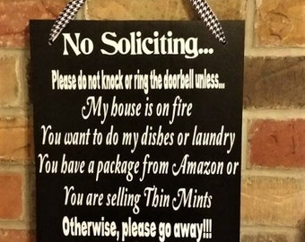 No Soliciting, Funny, Wood Sign, Amazon, Girl Scout Cookies, porch decor, home decor