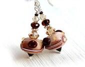50%off SALE Gift for Coffee lover, Coffee Earrings, Sweet Jewelry, Coffee bean, Lampwork Earrings, Beaded glass earrings, Coffee addict, by