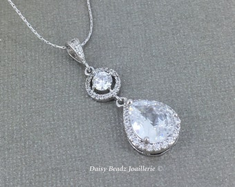 Bridal Necklace, Cubic Zirconia Necklace, Bridesmaid Jewelry, Crystal Necklace, CZ Necklace, Bridal Jewelry, Wedding Jewel