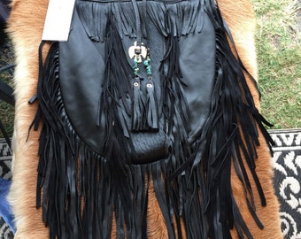 Black leather fur tribe bag