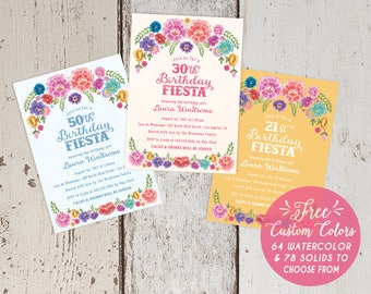 Mexican Fiesta Theme Floral Birthday Party Invitations - Spanish 1st 21st 30th 40th 50th Pink White - FREE CUSTOM COLORS - Printed Invites
