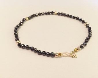 Solid 14k Gold Beads Bracelet, 14k Gold Faceted CZ Bracelet/ Black CZ Bracelet 14k Gold