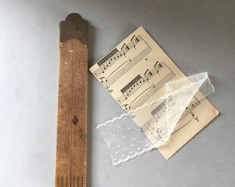 Wooden folding ruler,vintage rustic tool, boxwood ruler, made in England Rabone, industrial