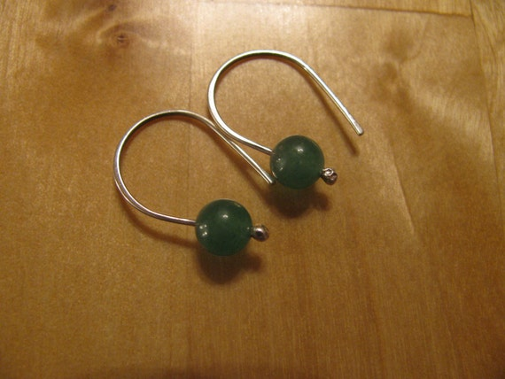 Green Aventurine Gemstone and Sterling Silver Handmade/Hand Forged Dangle Earrings-Stone of Opportunity