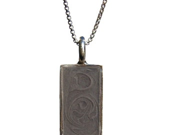Rectangular Cremation Pendant, 21 x 10mm - Men's Sterling Silver Pet Ashes Jewelry